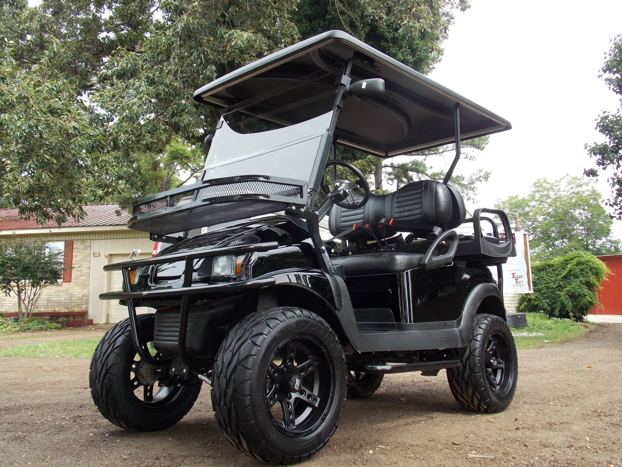 beach buggy cart, grey fifth wheel, car cart, on black and grey golf carts
