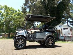 Silver Metallic Lifted Golfer Edition Golf Cart