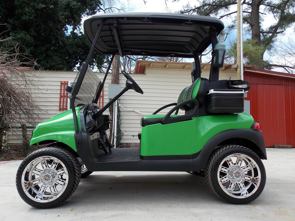Lime Green Rock N Club Car Phantom Elite Golf Cart