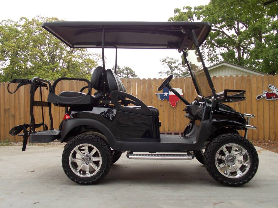 Black Chrome Edition Phantom Club Car Precedent 48v Electric Golf Cart on non lifted custom carts