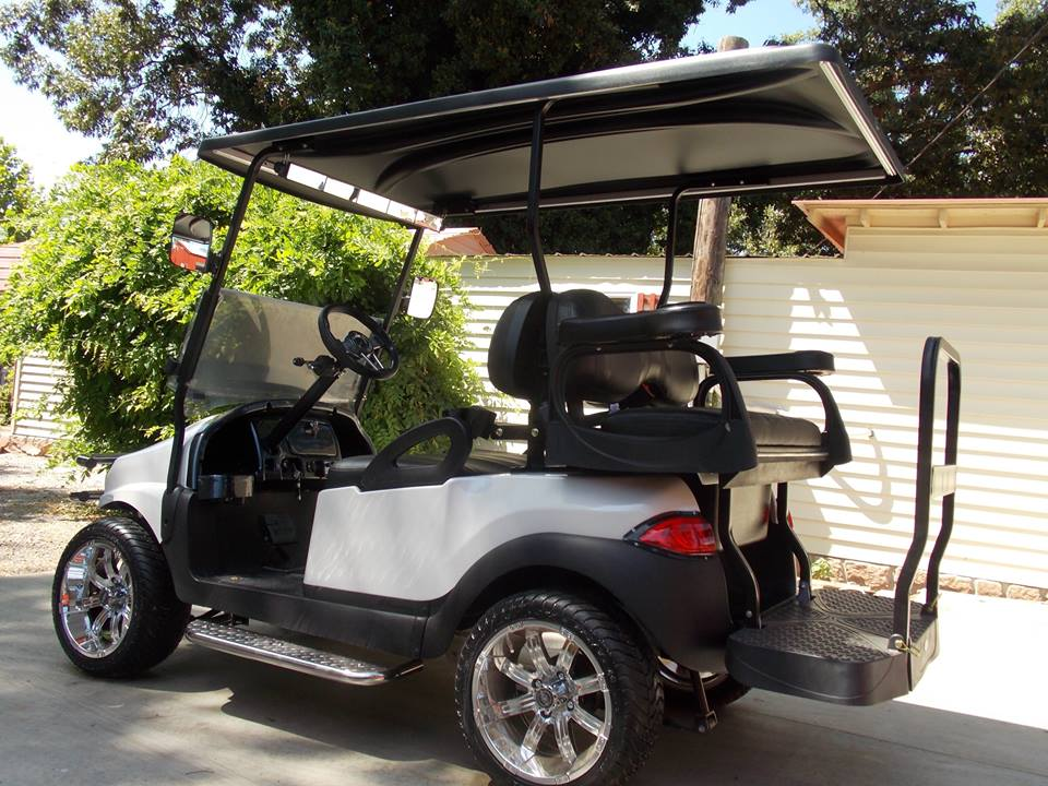 Pearl White Phantom Performance Series Golf Cart on