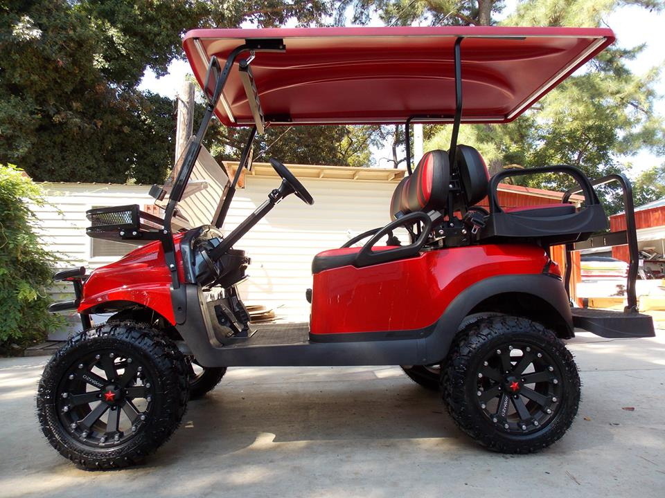 Red Kore Phantom Xt Club Car Precedent 48v Electric Golf Cart on non lifted custom carts