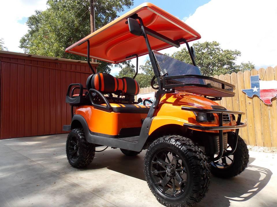 Orange Phantom XT Golf Cart on electric 4 wheelers, electric push cart, ezgo carts, electric deer cart, luxury carts,
