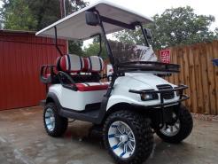 Red, White & Blue Phantom XT Club Car Precedent 48v Electric Golf Cart