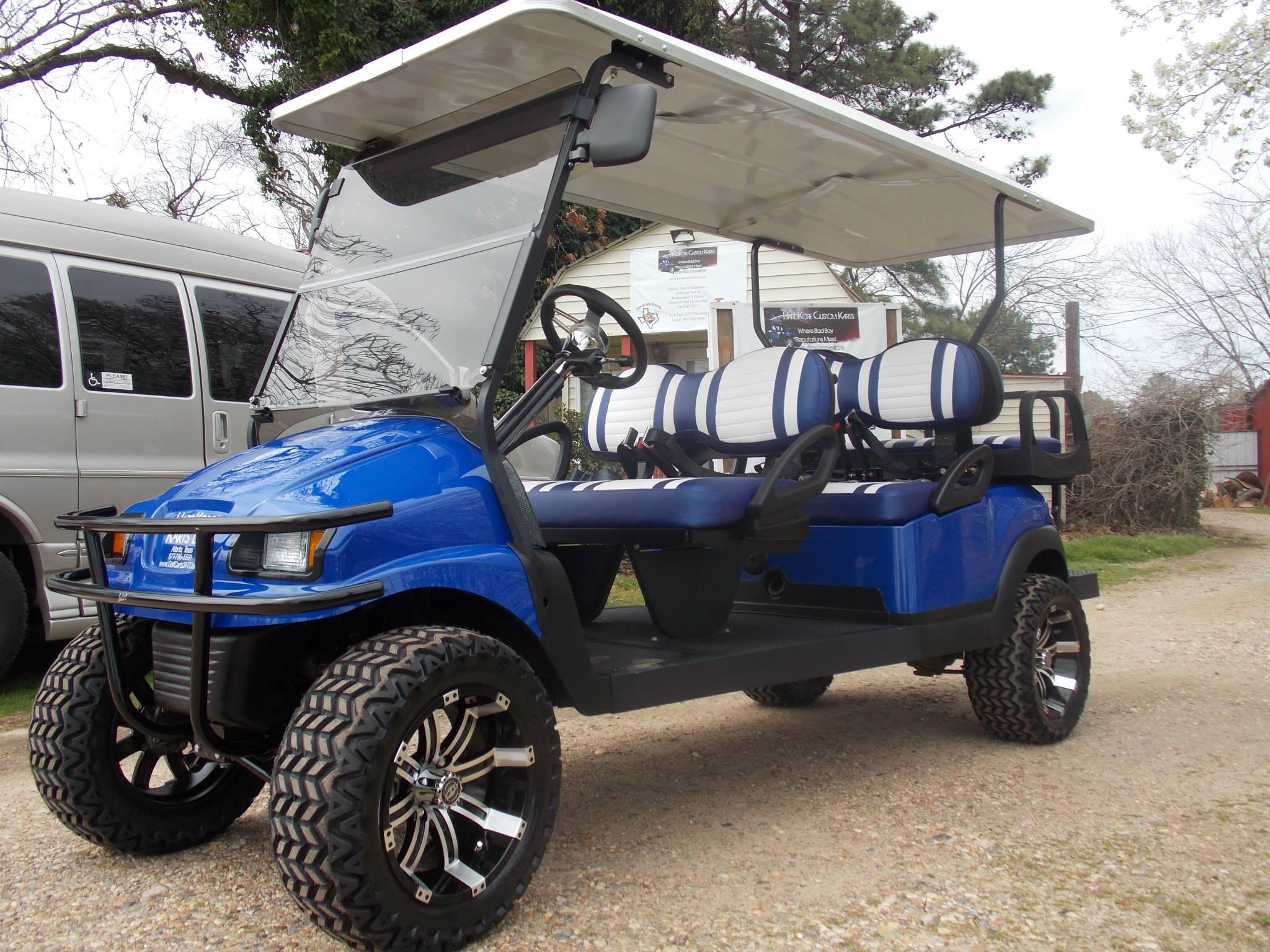 Blue Metallic Phantom Edition Limo Precedent Electric Golf Cart on non lifted custom carts
